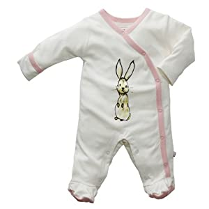 Baby Girls Easter Bunny Footed Sleeper - Pink and White Organic Cotton