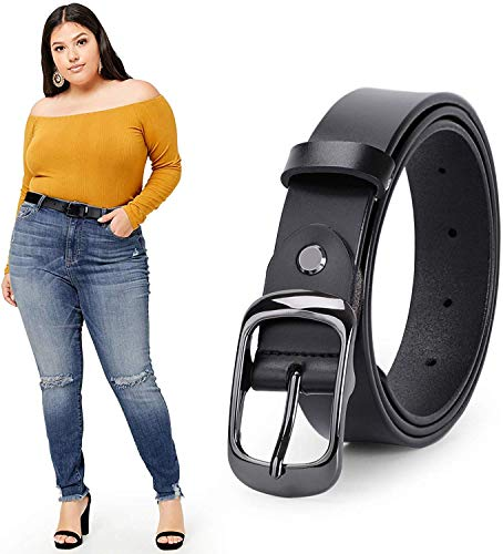 WERFORU Women Black Leather Belt Plus Size Polished Buckle for Jeans Pants(Suit for Waist Size 46-50 Inches, 1-Black)