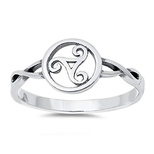 Oxford Diamond Co Plain Celtic Triskele .925 Sterling Silver Ring Sizes 8 ()