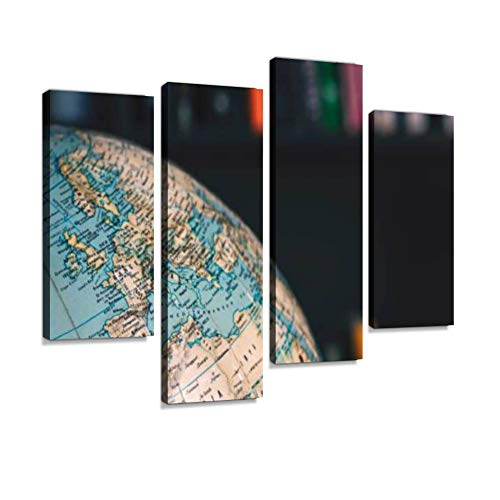 - Europe and Northern Africa. in Background Out of Focus Books on Shelves Canvas Wall Art Painting Pictures Modern Artwork Framed Posters for Living Room Ready to Hang Home Decor 4PANEL