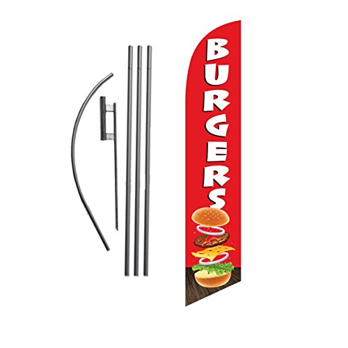 (Burgers 15ft Feather Banner Swooper Flag Kit - INCLUDES 15FT POLE KIT w/GROUND SPIKE )