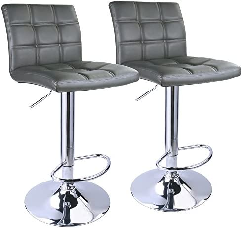 Leopard Adjustable Bar Stools Square Back, PU Leather Padded with Back, Set of 2 Grey