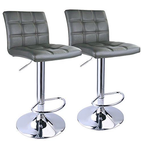 Leopard Adjustable Leather Bar Stools Square Back,PU Leather Padded with Back, Set of 2 (Grey) (Design Back Bar Stool)