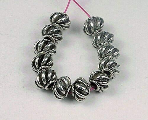 12 Pcs Silver Pewter Melon Space Beads Jewelry Making Supplies Craft DIY - Beads Silver Melon