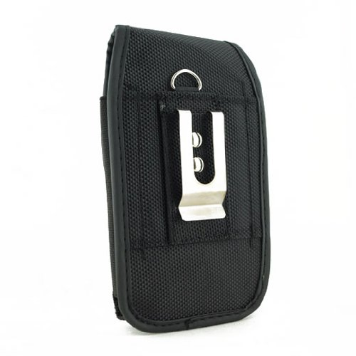 Vertical Heavy Duty Canvas Strong Rugged Holster Case Pouch with Belt Clip For Motorola Pink RAZR V3