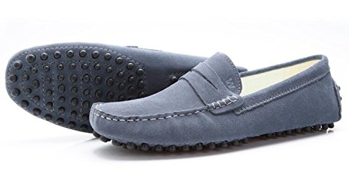 Suede Slip Loafers Driving HAPPYSHOP Shoes Leather Penny Moccasin Shoes Boat On Grey Flats Men's 4MqAqwxg5p