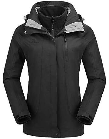 CAMEL CROWN Chaqueta de esquí Impermeable 3-en-1 Abrigo de Lana al Aire