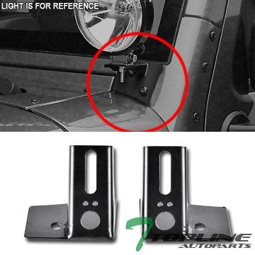 Topline Autopart Black Lower A-Pillar Light Bar Mount Brackets Kit For Fog Lamp FRC For 07-17 Jeep Wrangler JK ()