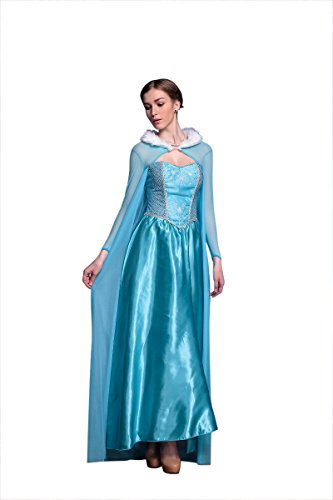 Disney Frozen Inspired Queen Elsa Winter Dress Adult Costume Halloween Cosplay S-XL