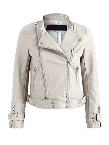 Simplee Women's Basic PU Faux Leather Short Motorcycle Jacket Coat Outwear Zipper