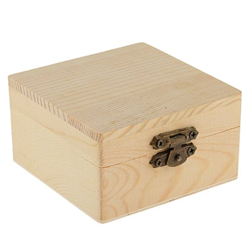 Dovewill Square Shape Natural Unfinished Wood Storage Box Case for Kid Toys DIY Painting Craft