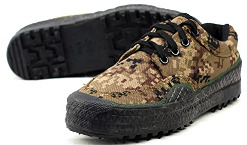 ACE SHOCK Army Shoes Men Camouflage, Anti-Skid Lace up Canvas Shoe Low-Top Military Use 6 Colors Size 6-10 Brown