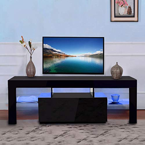SSLine Modern TV Stand with LED Light Wood Television Stand Media Storage Console Cabinet with Drawer and Shelves Entertainment Center Living Room Bedroom Furniture - Black