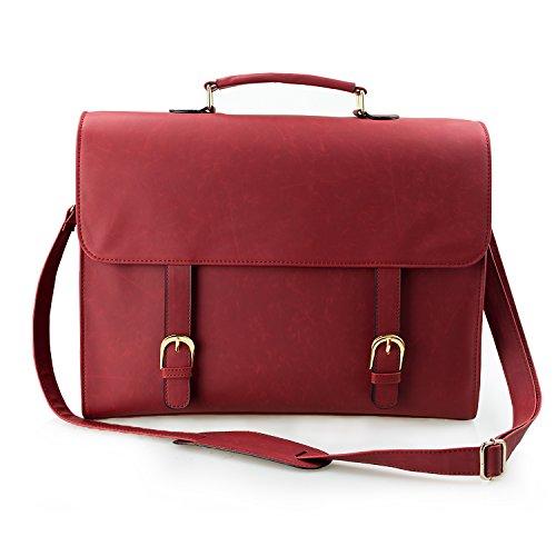 Leather inch Handbag Laptop Red 15 Large Women Red Bag Satchel Shoulder Estarer Work 6 School for Messenger Briefcase PU 4YqxC6nwB