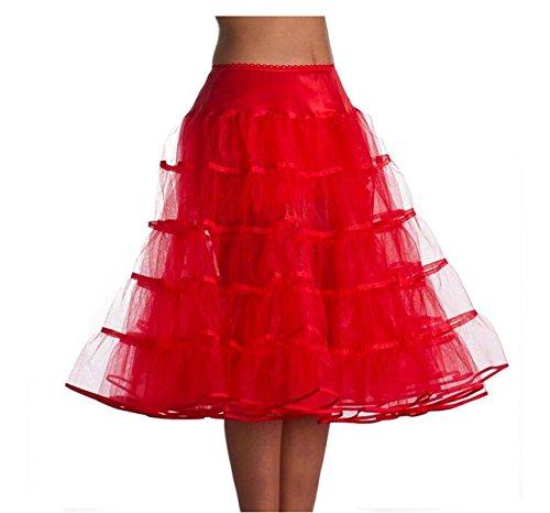 Dobelove Women's Vintage 50s Tea Length Adjustable Underskirt Tutu Petticoat Crinoline Slip (L-XL, Red)
