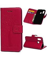 Archi A40 skal etui för Samsung Galaxy A40 mobilskal läder flipcase skyddsfodral plånbok flipcover väska stativ magnetlås kort fack mobilväska, Samsung Galaxy A40, Rosaröd