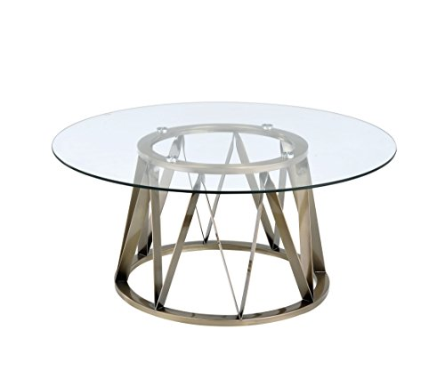 ACME Perjan Antique Brass Coffee Table with Glass Top - Brass And Glass Coffee Table
