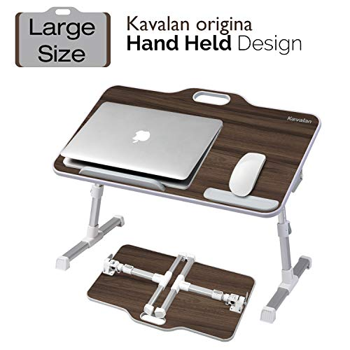 Kavalan Large Size Portable Laptop Table with Handle, Height & Angle Adjustable Sit and Stand Desk, Bed & Breakfast Table Tray, Foldable Notebook Stand Holder for Sofa Couch - Black Teak