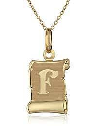 """14k Yellow Gold Initial Pendant Necklace A-Z Necklace, 18"""""""