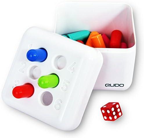 Qudo - Juego de fichas y dados de Dazzon para jugar con la familia o los amigos. Múltiples juegos en uno a diferencia de otros juegos de mesa. Igualmente divertido para niños,