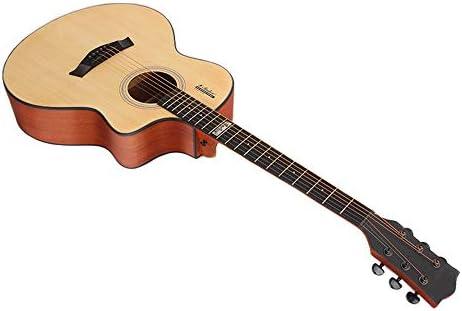 アコースティックギター ガールギターフォークギターベニヤエントリアコースティックギターステージパフォーマンス 初心者セット (色 : Natural, Size : 41 inches)