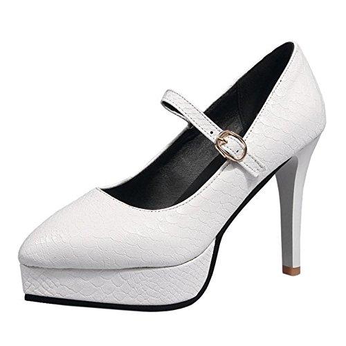 Coolcept Mujer Mary Jane Bombas Zapatos White