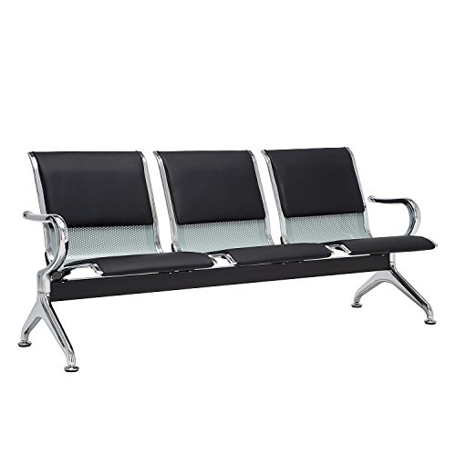 Walcut 3-Seat Reception Area Airport Waiting Room Bench Chair For School,Hospital,Barber shop,Market