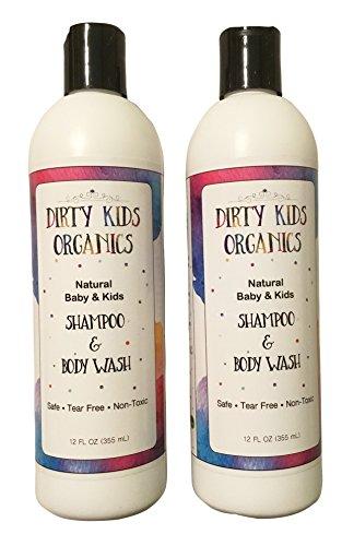 2 Pack, Natural & Organic Tear - Free Shampoo & Body Wash For Babies & Kids (Dirty Kids Organics) 2 -In- 1 Natural Hair & Bath Soap – Non - Irritating Gentle Cleansing Wash, Moisturizing & Nourishing by Dirty Kids Organics, LLC
