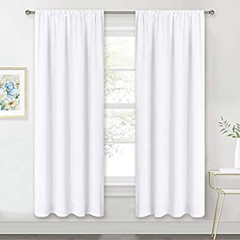 RYB HOME Window Decor Kitchen Curtain Drapes - 50% Blackout Thermal Insulated Curtains Set Rod Pocket Energy Saving for Bedroom Kitchen Livingroom Dining, 42 Wide x 72 Long, Pure White, 2 Panels