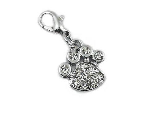 #1 Selling Paw Charm with Swarovski Crystals: Lobster Clasp Opens to Attach to Many Items.