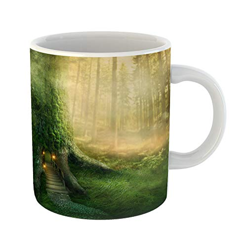 Dreams Lamp Mist Of (Emvency Coffee Tea Mug Gift 11 Ounces Funny Ceramic Green Fairy Fantasy Tree House in Forest Magic Gifts For Family Friends Coworkers Boss Mug)