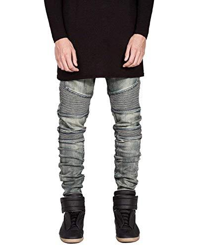 Pantaloni Slim Biker Trapuntato Svago Uomo Semplice Jeggings Denim Stretch Fit Cerniera Stile Jeans 04gutong Di rrzRwnABZ
