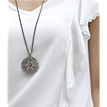 Hot sale jewelry fashion major circular hollow flower long necklace sweater chain jewelry (gun black)