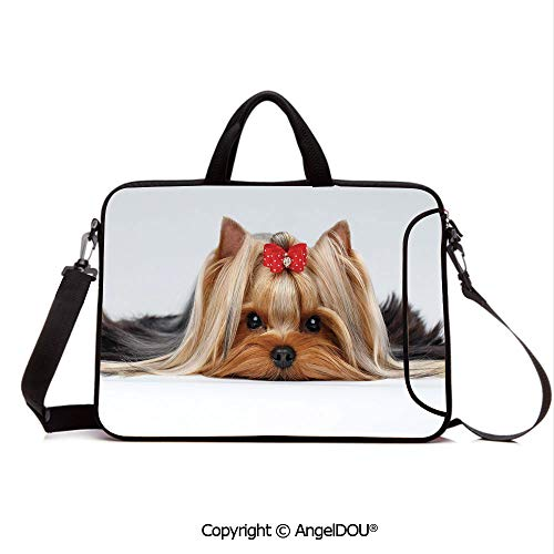 AngelDOU Customized Neoprene Printed Laptop Bag Notebook Handbag Lying Yorkshire Terrier with Cute Ribbon Yorkie Love Portrait of a Dog Decorativ Compatible with mac air mi pro/Lenovo/asus/acer P (Tag Luggage Leather Pink Ribbon)