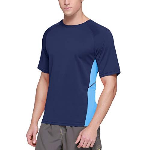 Baleaf Men's Short Sleeve Sun Protection Rashguard Swim Shirt UPF 50+ Navy Blue XL