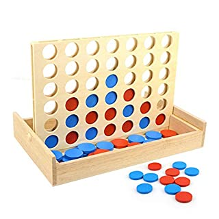 Wooden Classic 4 Board Family Games,Four in a Row Game,Travel Board Game Fun Toy,Foldable Line Up 4 Board Games for Kids Adults Intelligence Basic Skills Development Toys
