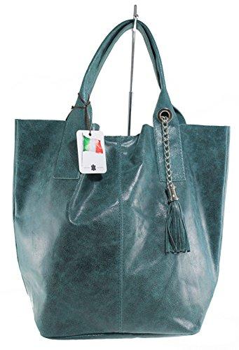 Pelle Donne A Semi In Con Vera Verde Realizzati Italia Manici Tracolla gloss 39x36x20cm Borsa Mwc 100 qTagPa