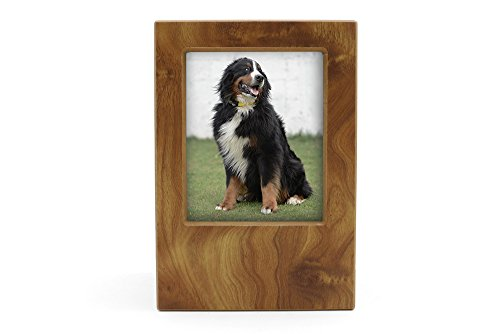 (Near & Dear Pet Memorials MDF Pet Photo Cremation Urn, 200 Cubic Inch, Natural Grain Finish)