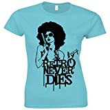 Urban Shaolin Womens Retro Never Dies 1970S Inspired Crew Neck Fitted T Shirt, White, Pink, Blue
