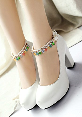 Aisun Womens Rhinestone Buckled Round Toe Dressy Chunky High Heel Hidden Platform Pumps Shoes With Ankle Strap White Ytbp0tz