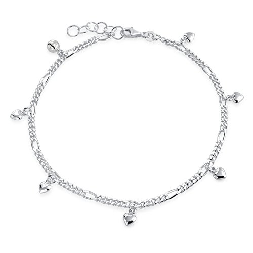 Sterling Silver Dangle Heart Anklet - Multi Heart Dangle Charms Anklet Ankle Bracelet For Women 925 Sterling Silver Adjustable 9 To 10 Inch With Extender