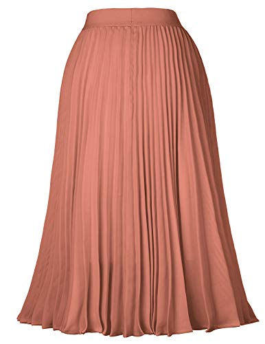 Kate Kasin Women's High Waist Pleated A-Line Swing Skirt KK659