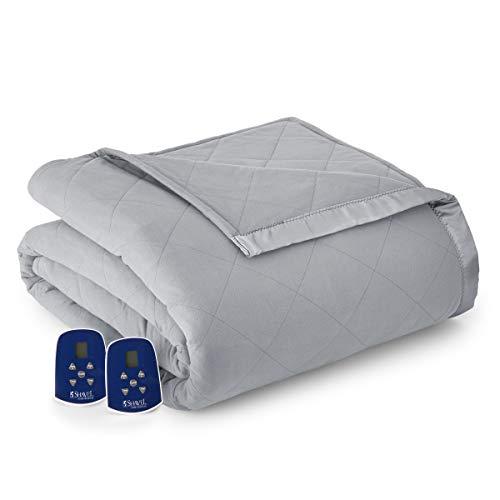Thermee Micro Flannel Electric Blanket, Slate Grey, King