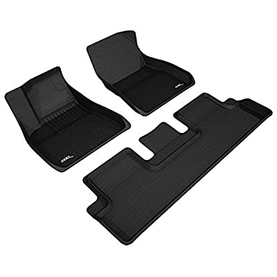 3D MAXpider Tesla Model 3 2020-2020 Custom Fit All-Weather Car Floor Mats Liners, Kagu Series (1st & 2nd Row, Black): Automotive