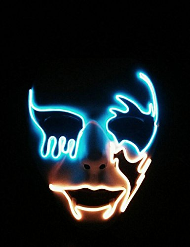 Circle Circle El Wire Glowing Mask Luminous LED Light Up Cool Halloween Christmas DJ Birthday Cosplay Death Grimace Masks for Festival Party Show (Blue and Orange)