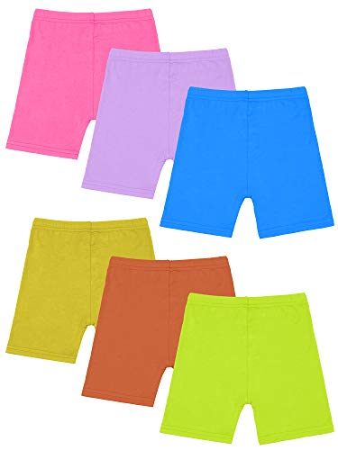 Resinta 6 Pack Black Dance Shorts Girls Bike Short Breathable and Safety 6 Color (Mixed Colors 2, 6T/7T)