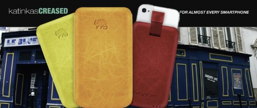Katinkas USA 400016 Premium Leather Case Creased for iPhone 4, HTC Wildfire S, Nokia C7, Samsung Galaxy 5 - 1 Pack - Retail Packaging - Red