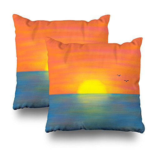 KJONG Pink Orange Sunset Front And Back Zippered Pillow Cover,18X18 inch Square Decorative Throw Pillow Case Fashion Style Cushion Covers(Two Sides Print)(Set of 2)