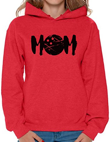 (Awkward Styles Women's MOM Bowling Sport Mom Graphic Hoodie Tops Black Red M)