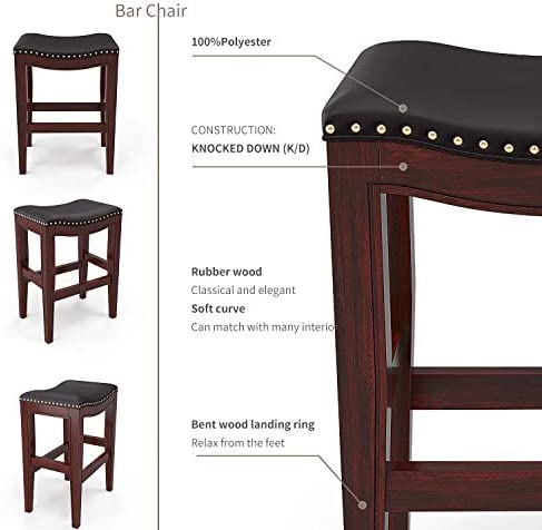 Furgle Set of 2 Saddle Seat Stools 25 Barstool Wood Vintage Counter Chairs Backless Faux Leather Counter Stool